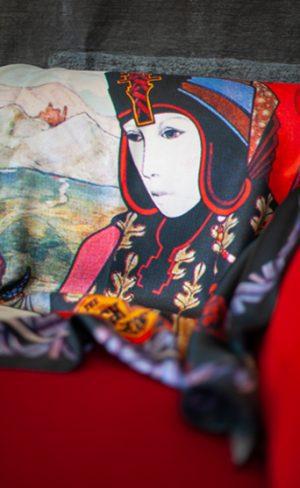 my inner witch | silk tarot scarf high priestess aquarian tarot deck art deco design wearable art